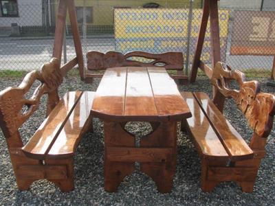 dřevěný zahradní nábytek vencl set 1+2 Řezba 1 botodre
