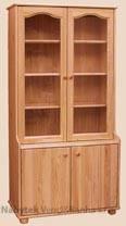dřevěná knihovna, vitrína z masivního dřeva borovice drewfilip 1