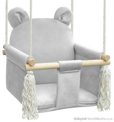 dětská dřevěná závěsná houpačka, polstrovaná Nati Bear light grey