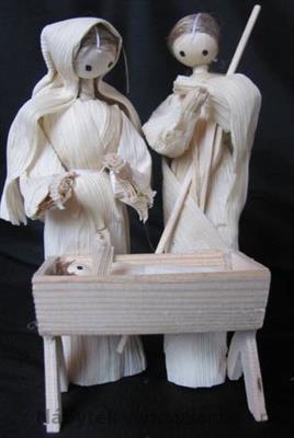vánoční betlém z kukuřičného šusti č.13037