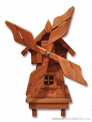 dřevěná dekorace, dřevěný zahradní dekorační větrný mlýn pacyg MO139