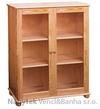 dřevěná knihovna, vitrína z masivního dřeva borovice drewfilip 13
