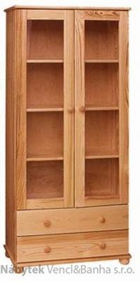 dřevěná knihovna, vitrína prosklená z masivního dřeva borovice drewfilip 6