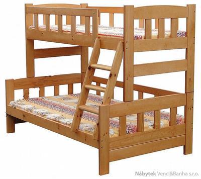 dřevěná patrová postel z masivu, palanda Wiking chalup