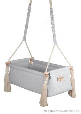 dětská závěsná kolébka dřevěná polstrovaná New Born gray babysteps