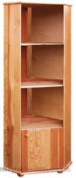 dřevěná knihovna, vitrína rohová z masivního dřeva borovice drewfilip 9