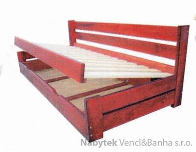 dřevěná dvojlůžková postel s úložným prostorem Innowator chalup