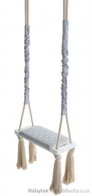 dětská dřevěná závěsná houpačka, polstrovaná Wood Swing gray babysteps