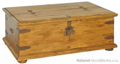 dřevěná rustikální stylová komoda, prádelník z masivního dřeva borovice Mexicana ARC03 euromeb