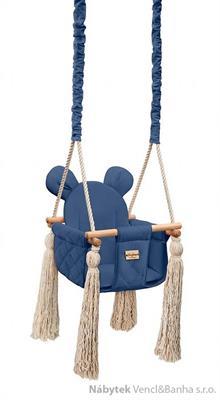 dětská dřevěná závěsná houpačka, polstrovaná Velvet Swing navi babysteps