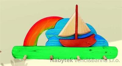 dekorace dětský věšák plachetnice met 26503