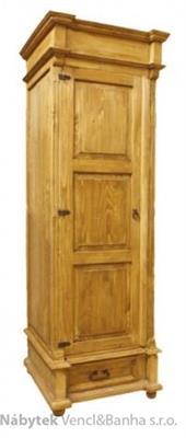 dřevěná stylová jedno dvířková šatní skříň D10d1 euromeb