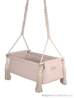 dětská závěsná kolébka dřevěná polstrovaná New Born soft pink babysteps