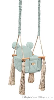 dětská dřevěná závěsná houpačka, polstrovaná Velvet Swing sky gray babysteps
