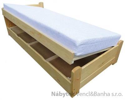 dřevěná dvojlůžková manželská postel s úložným prostorem Eureka chalup