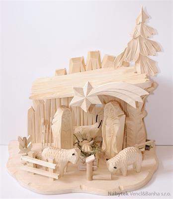 vánoční dřevěný betlem dřevořezba 701085
