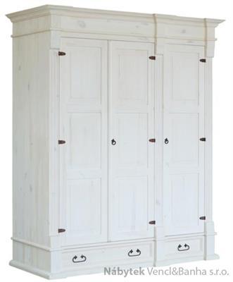 dřevěná stylová trojí dvířková šatní skříň Mexicana D10d3bíla euromeb