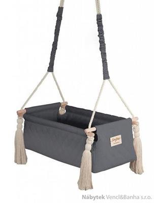 dětská závěsná kolébka dřevěná polstrovaná New Born dark gray babysteps
