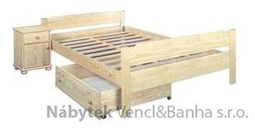 dřevěná dvojlůžková postel z masivního dřeva Lens chalup