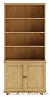 dřevěná vitrína, knihovna, z masivního dřeva borovice KW127 pacyg
