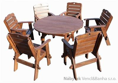 dřevěný zahradní nábytek set Jedrzej11 kulatý 1S+6K  euromeb 11