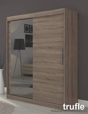 moderní šatní skříň zrcadlová s posuvnými dvířky Bianco adrk