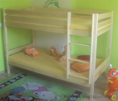 dřevěná patrová postel z masivu, palanda Adas maxidre