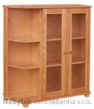 dřevěná knihovna, vitrína z masivního dřeva borovice drewfilip 11