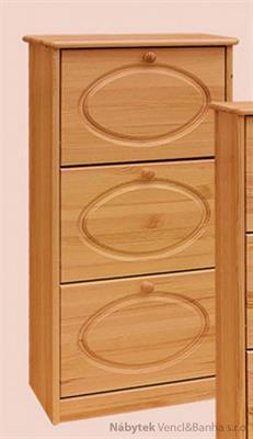 dřevěný botník z masivního dřeva borovice drewfilip 2 oval