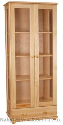 dřevěná knihovna, vitrína z masivního dřeva borovice drewfilip 5