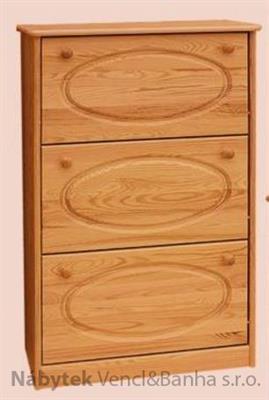 dřevěný botník z masivního dřeva borovice drewfilip 4 oval