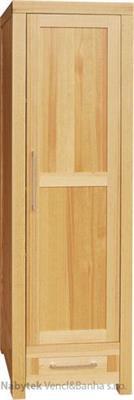 dřevěná moderní šatní skříň z masivního dřeva borovice jedno dvířková DELSOL03 I drewfilip