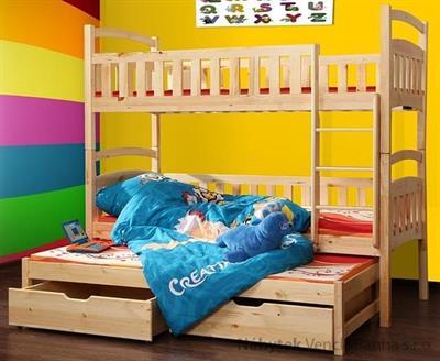 dřevěná patrová postel z masivního dřeva borovice Wox 7 chojm