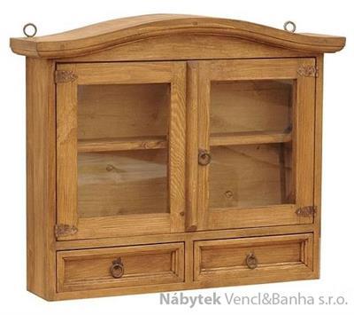 rustikální prosklená závěsná vitrína, skřínka stylová z masivního dřeva borovice Mexicana ACC53 euromeb