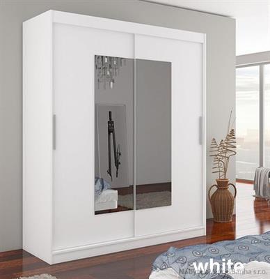 moderní dvojí dvířková šatní skříň zrcadlová s posuvnými dvířky Rosette adrk