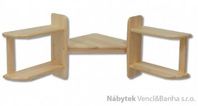 dřevěná rohová závěsná polička z masivního dřeva borovice PK131 pacyg