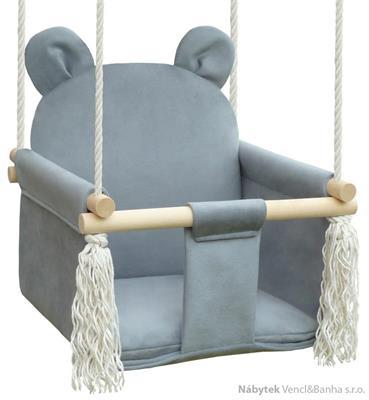 dětská dřevěná závěsná houpačka, polstrovaná Nati Bear grey