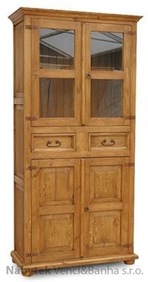 dřevěná rustikální vitrína stylová z masivního dřeva borovice Mexicana VIT05 euromeb