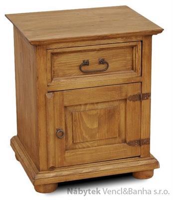 dřevěný rustikální stylový noční stolek z masivního dřeva borovice Mexicana COM01 euromeb