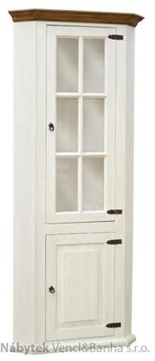dřevěná rustikální prosklená rohová vitrína stylová z masivního dřeva borovice Mexicana D12bíla euromeb