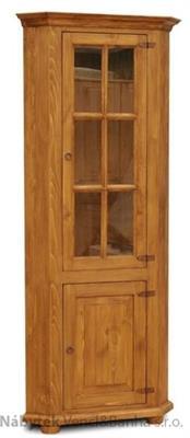 dřevěná rustikální prosklená rohová vitrína stylová z masivního dřeva borovice Mexicana D12 euromeb