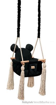 dětská dřevěná závěsná houpačka, polstrovaná Velvet Swing black babysteps