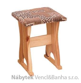 dřevěný polstrovaný taburet z masivního dřeva borovice drewfil 11