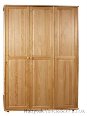 dřevěná šatní skříň trojí dvířková z masivního dřeva borovice drewfilip 8 velká