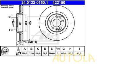 Brzdový kotouč přední ATE  Audi  A3 1.6, 1.8, 1.9
